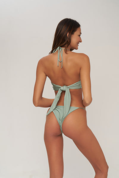 Capri - Tube Single Side Strap Bikini Bottom in Sage Shimmer