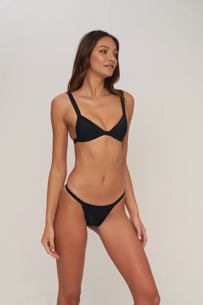 San Sebastian - Bikini Top In Night Black Rib