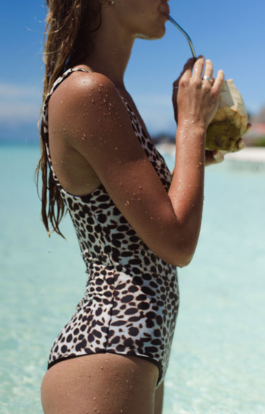 Cinque Terre - One shoulder One Piece in Cheetah Print