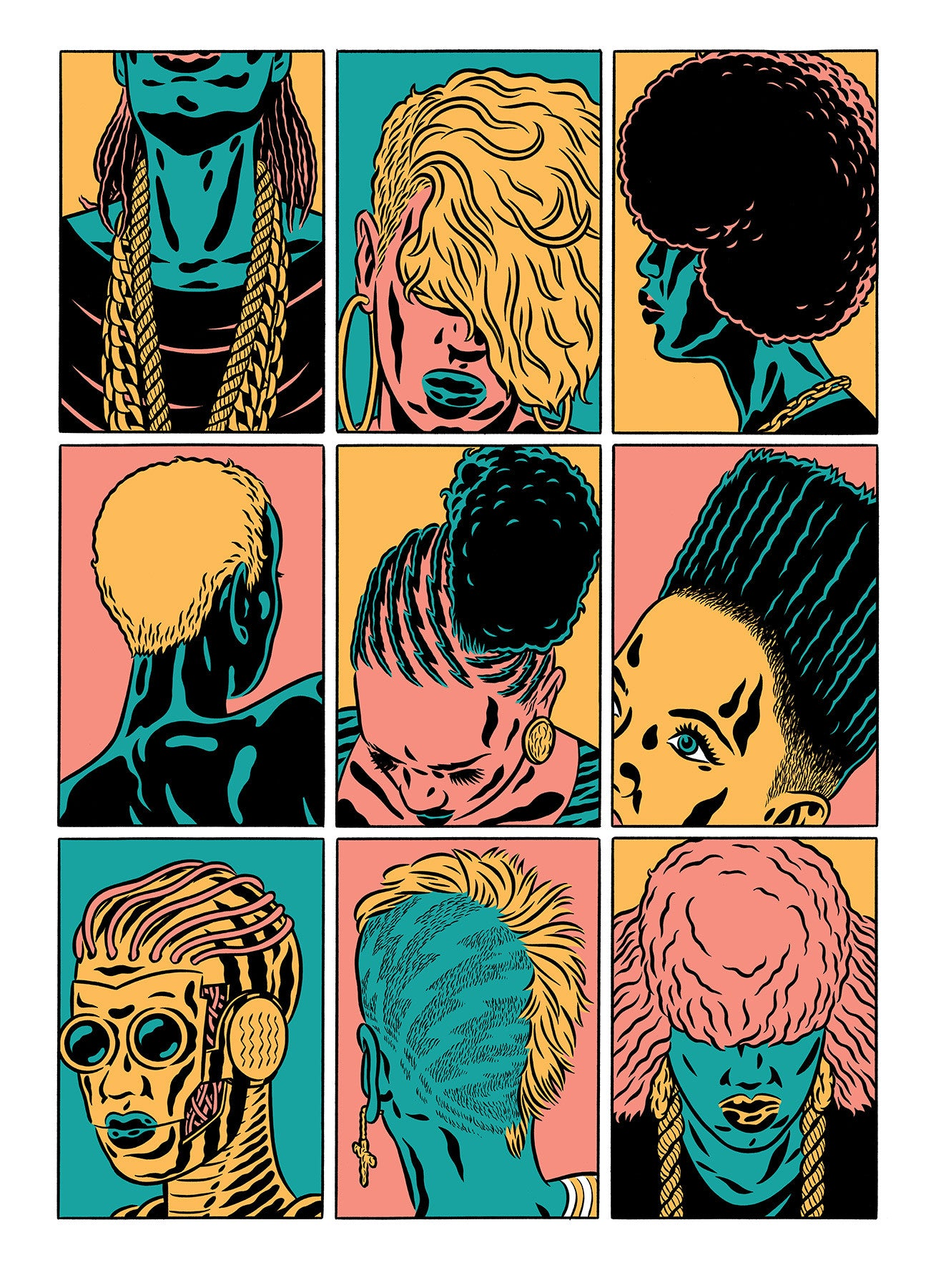 Heads (screen print)