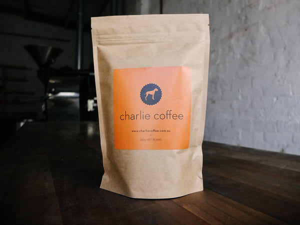 250g of Charlie Coffee 'House Blend - New Sydney'.
