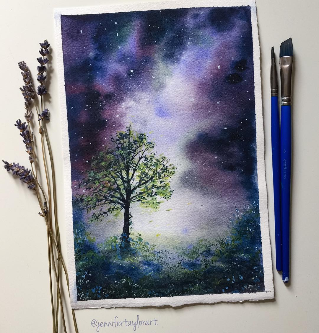 Watercolor Meadow Painting