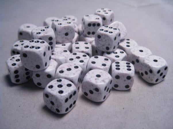 Dice: 36 Arctic Camo D6 dice, pipped by Chessex