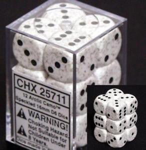 Chessex: Arctic Camo - 12 x D6 Set (16mm, pip)