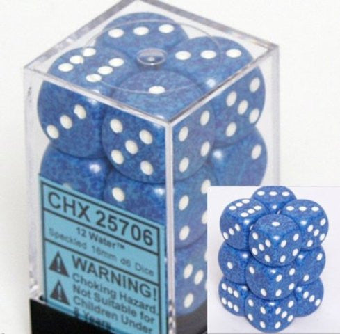Chessex: Water - 12 x D6 Set (16mm, pip)