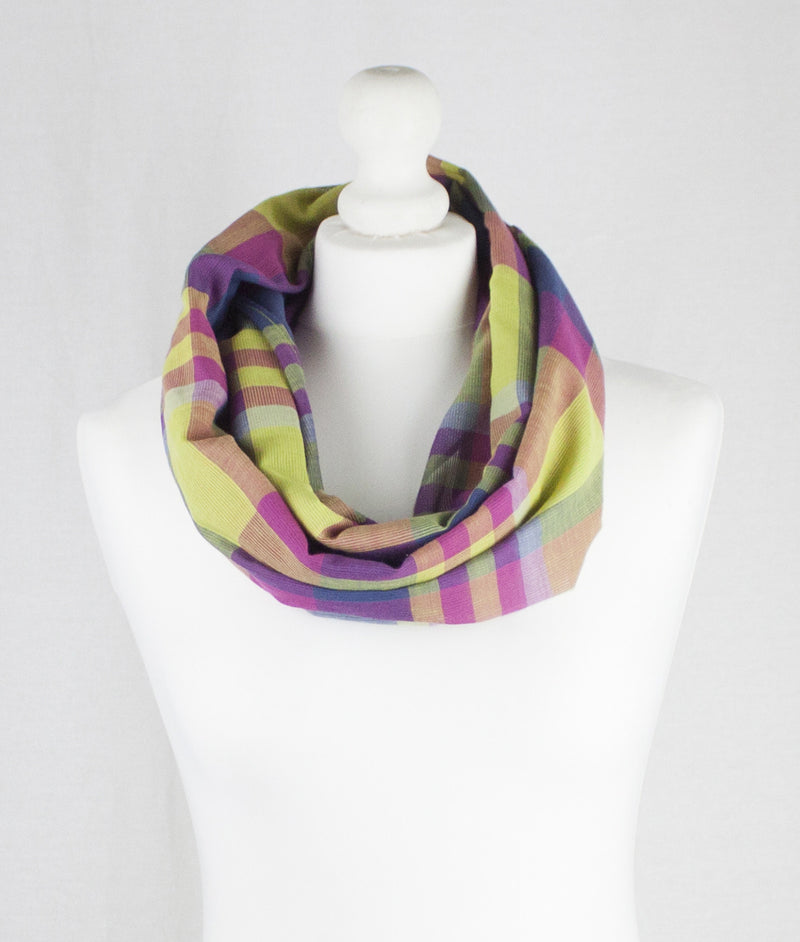 Retro Checks Skippedend Weave Cotton Scarf - Pink Purple