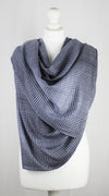 Gradient Checks Twill Weave Viscose Scarf - Grey Black