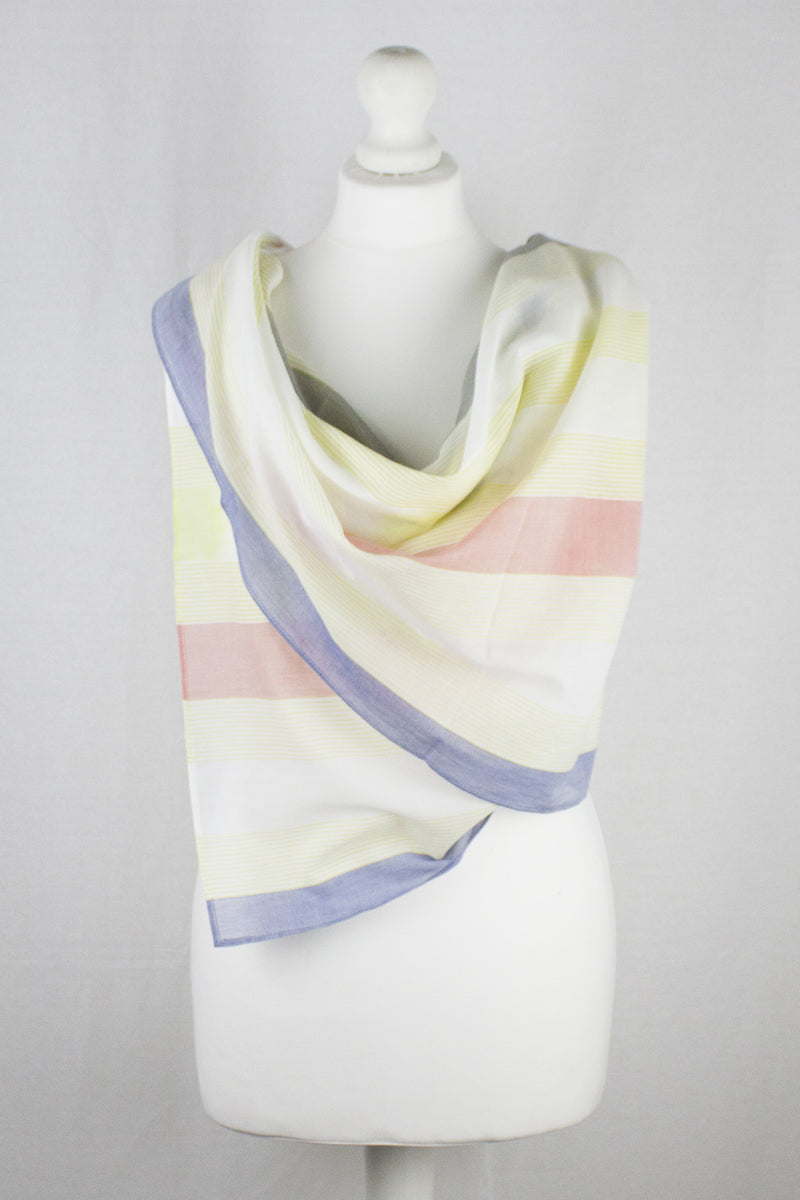 Woven Stripes Cotton Scarf - Pink Lime
