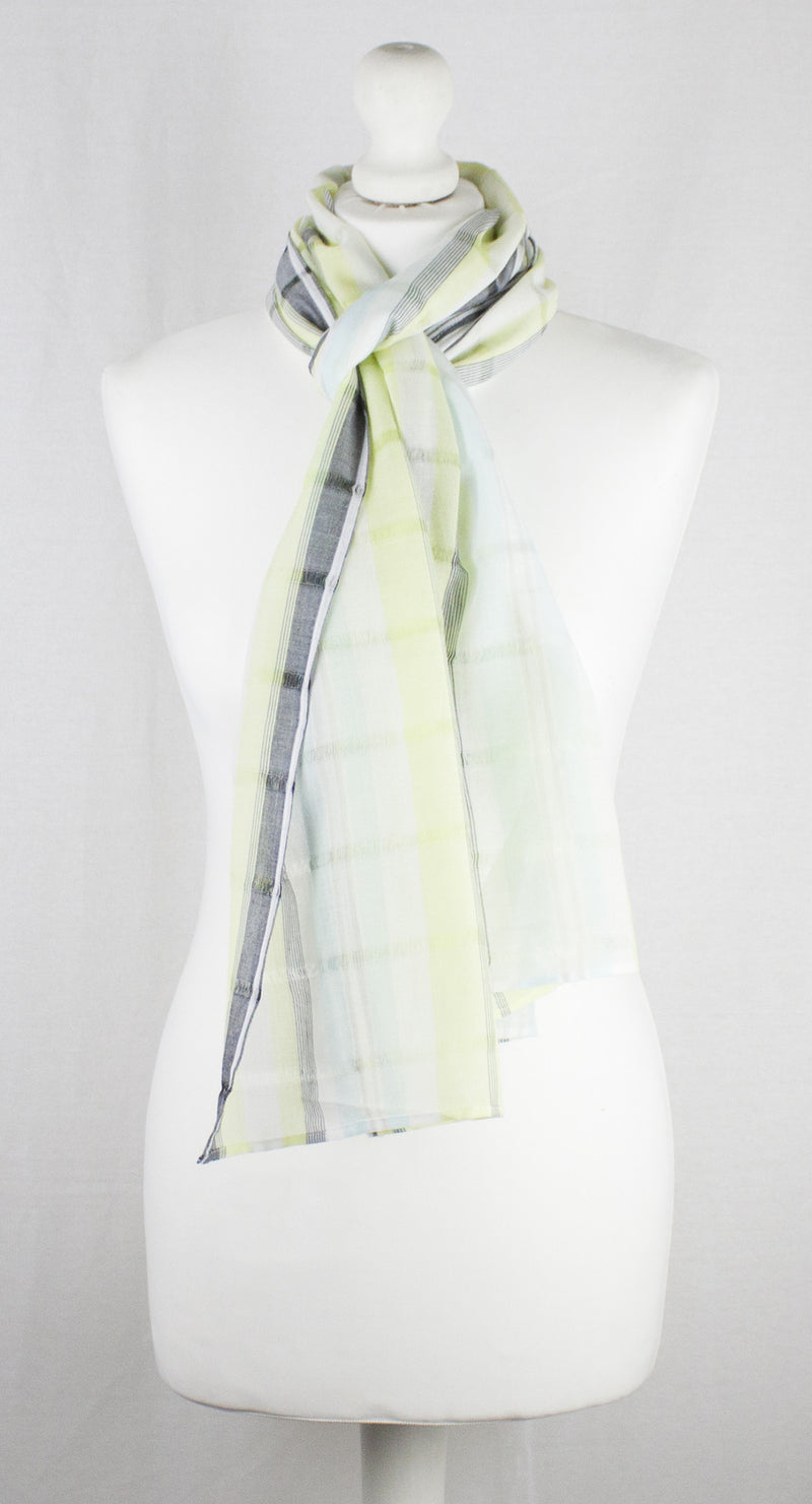 Leno Weave Stripes Cotton Scarf - Aqua Lime