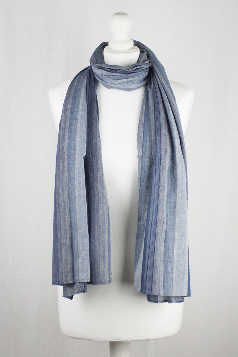 Gradient Stripes Cotton Scarf - Grey Navy Black
