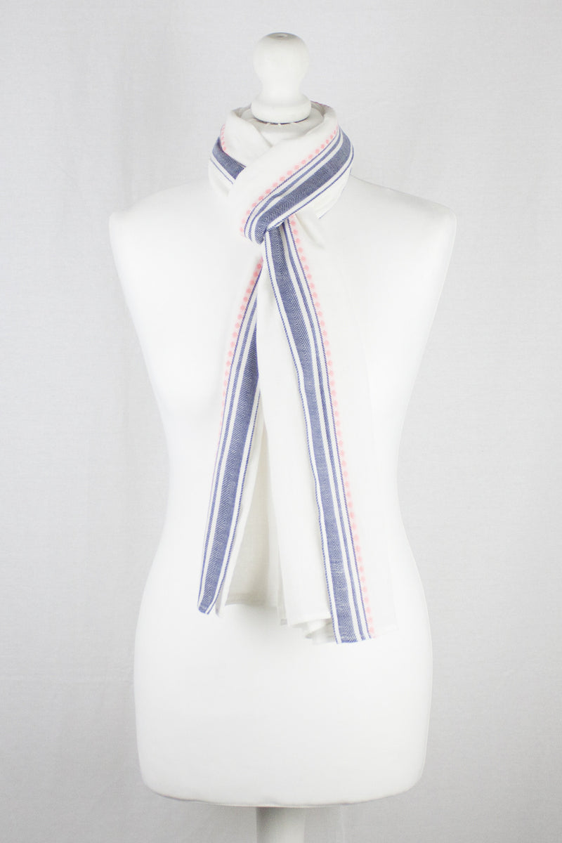 Classic South Border Cotton Scarf - White