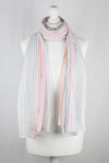 Classic Stripe with Neon Pink Border Viscose Scarf - Grey White Neon Pink