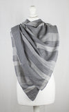Checks and Stripes Cotton Scarf - Cement Black