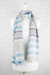 Checks and Stripes Textured Weave Viscose Scarf - Blue Navy Beige