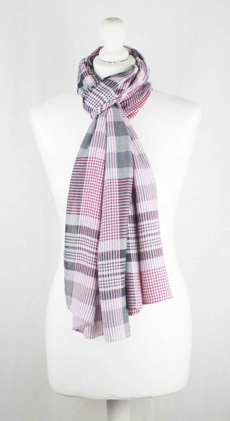 Checks and Stripes Textured Weave Viscose Scarf - Pink Black Off-White