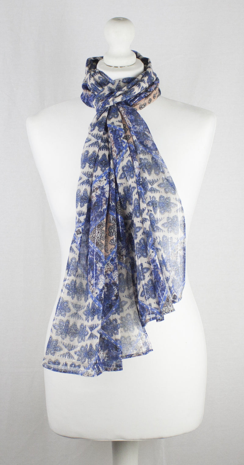 Indian Ethnic Print with Lurex Stripe Cotton Scarf - Blue