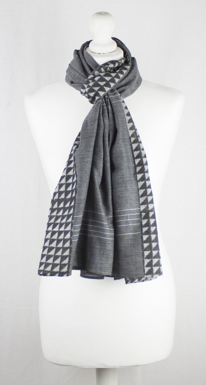Triangle Print Chambray Cotton Scarf -  Grey Black