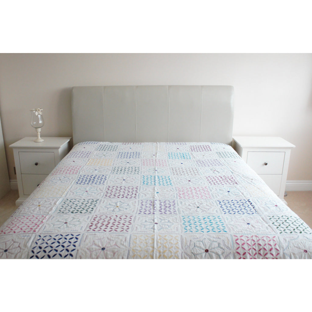 Multi-Coloured Applique Cotton Flat Bed Sheet - Super King