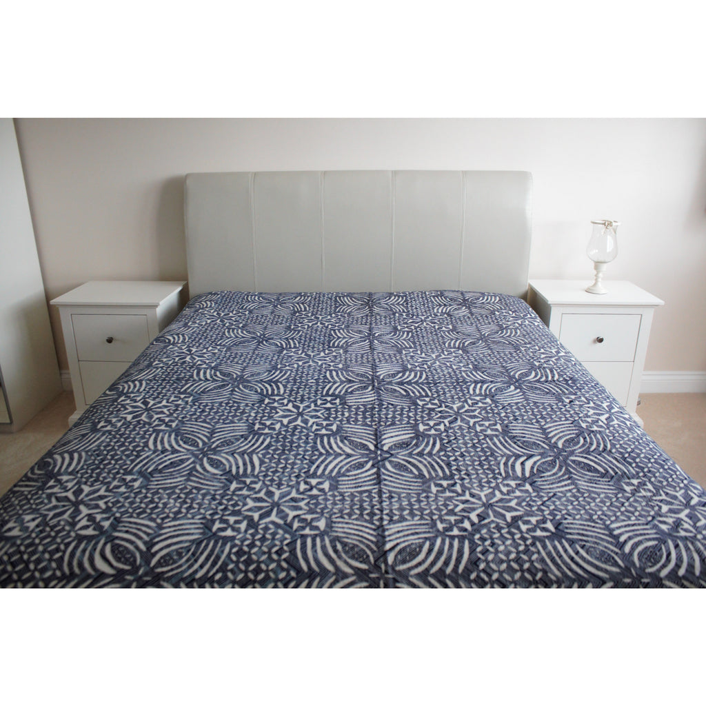 Indigo Applique Cotton Flat Bed Sheet - Super King