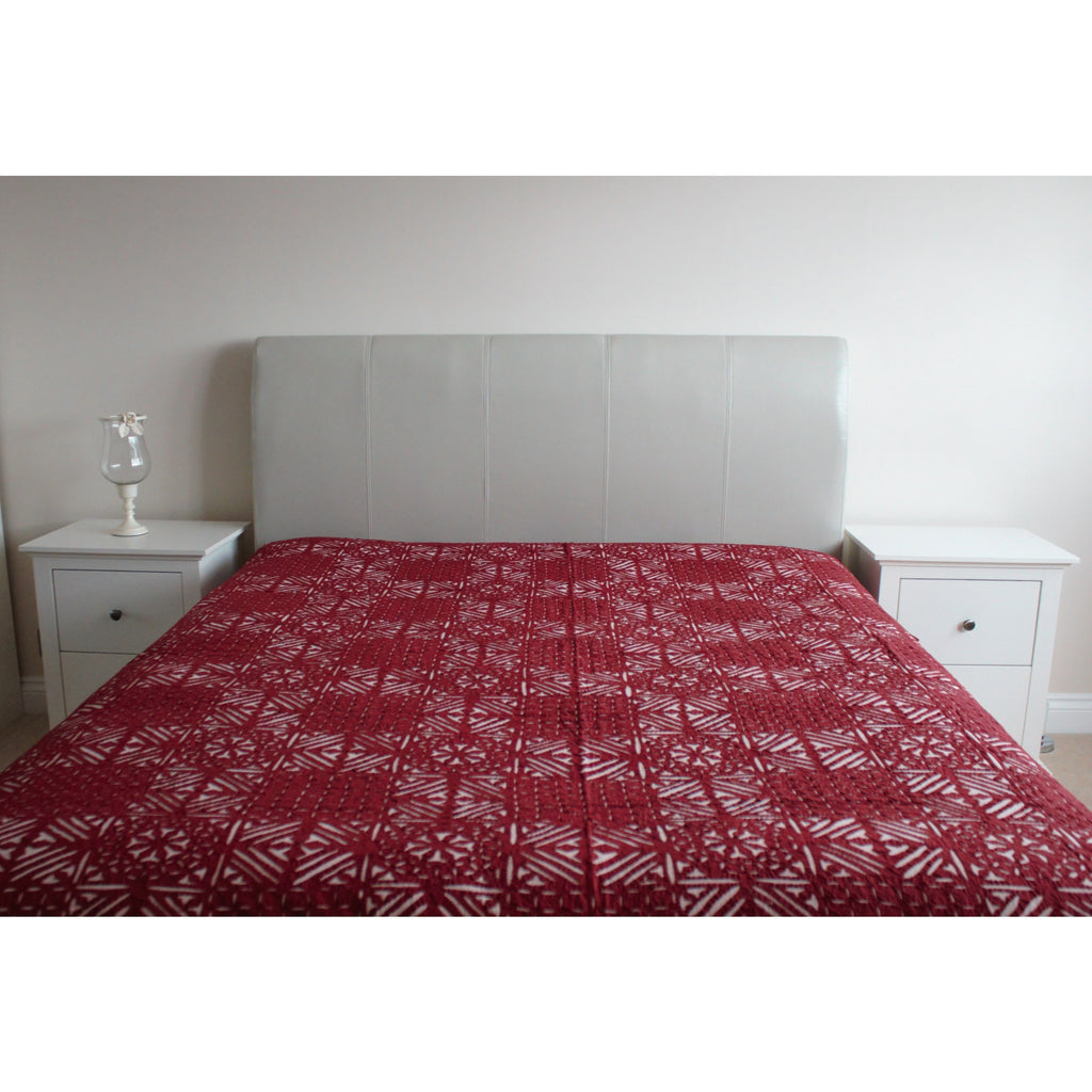 Maroon Applique Cotton Flat Bed Sheet - Super King