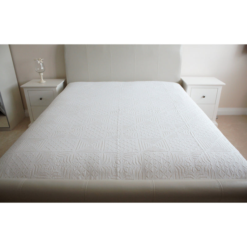 White Applique Cotton Flat Bed Sheet - Double