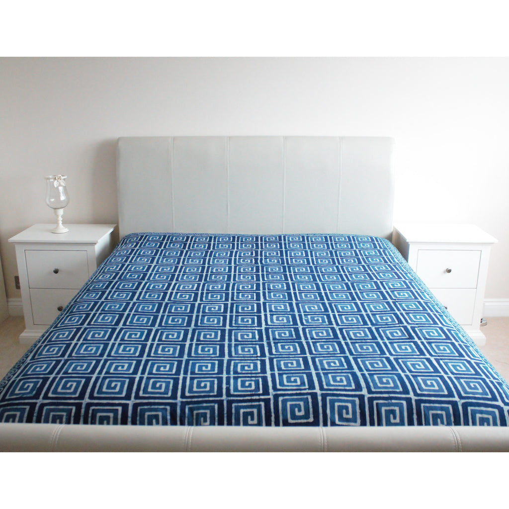 Geometric Indigo Print Cotton Flat Bed Sheet - Super King