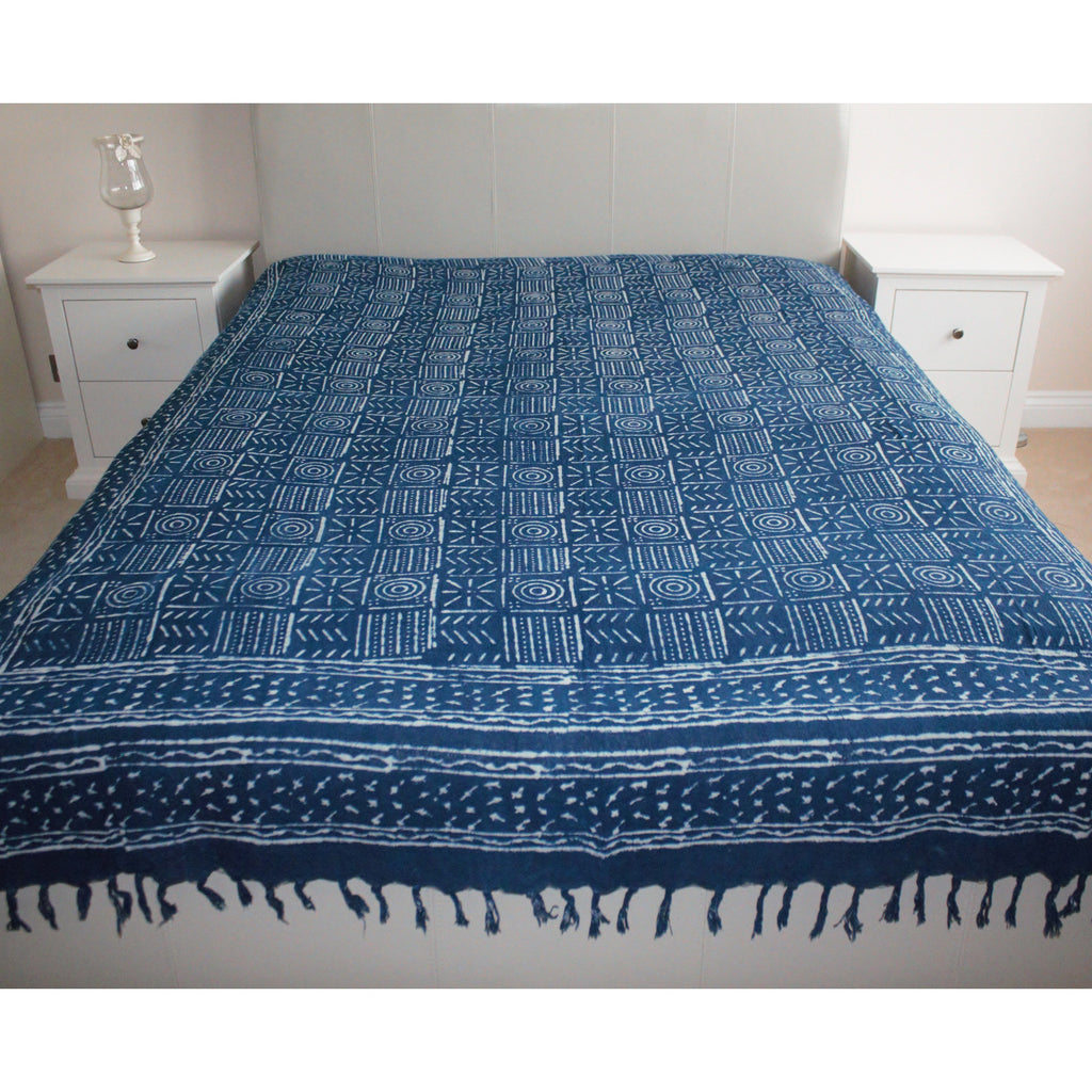 Geometric Indigo Print Khadi Cotton Flat Bed Sheet - Super King