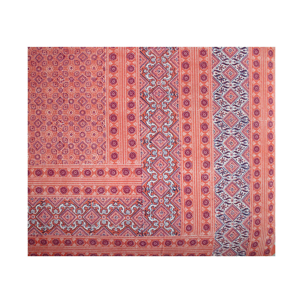 Ajrakh Print Burnt Orange Cotton Flat Bed Sheet - Double