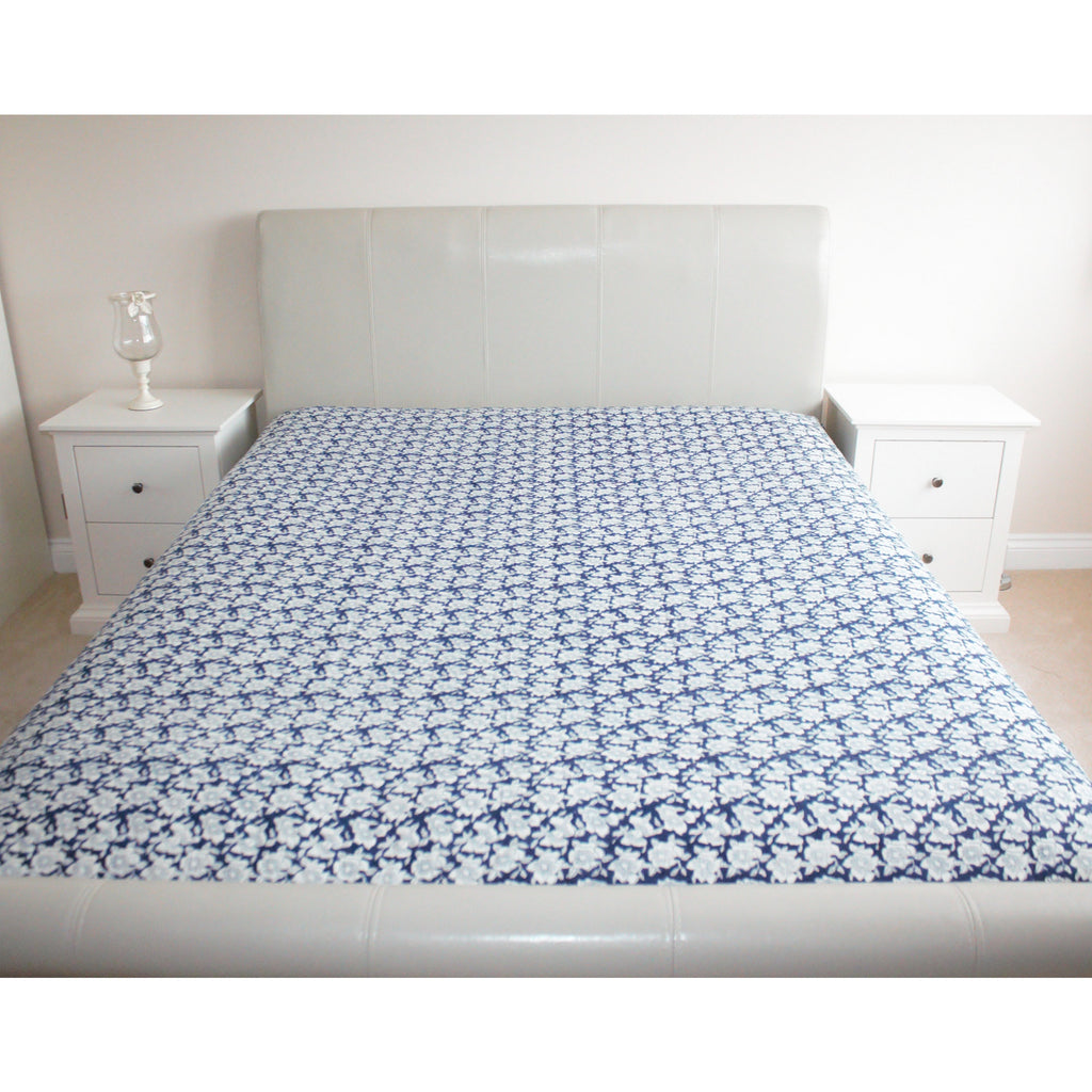 Blue Floral Mughal Print Cotton Flat Bed Sheet - Super King