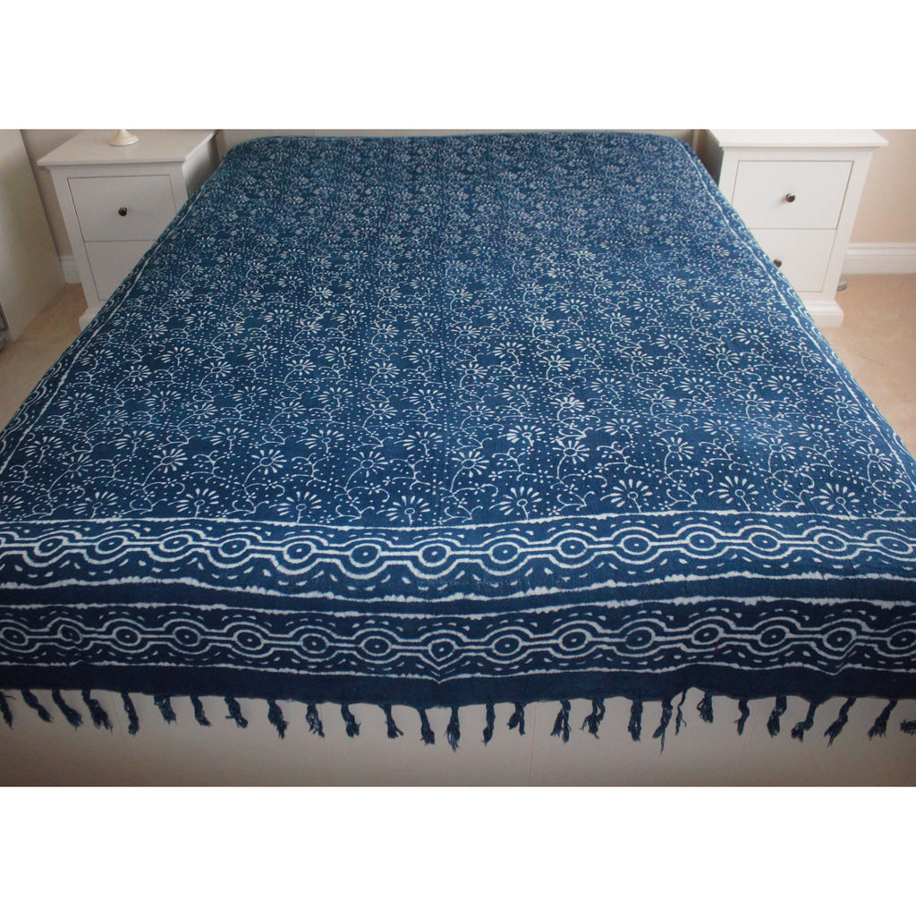 Floral Indigo Print Khadi Cotton Flat Bed Sheet - Super King