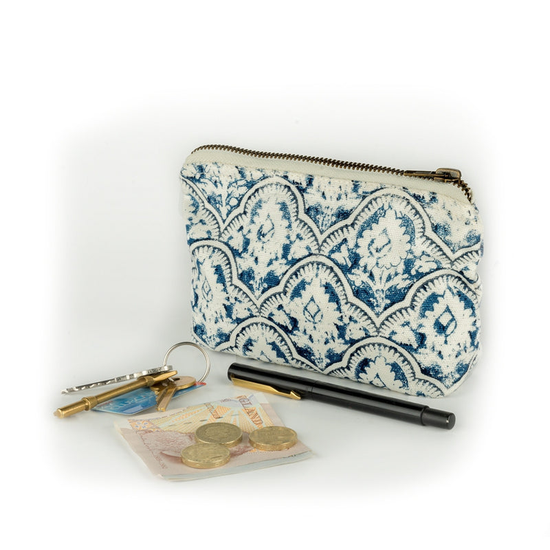 Smart Chic Wallet - White N Blue Canvas