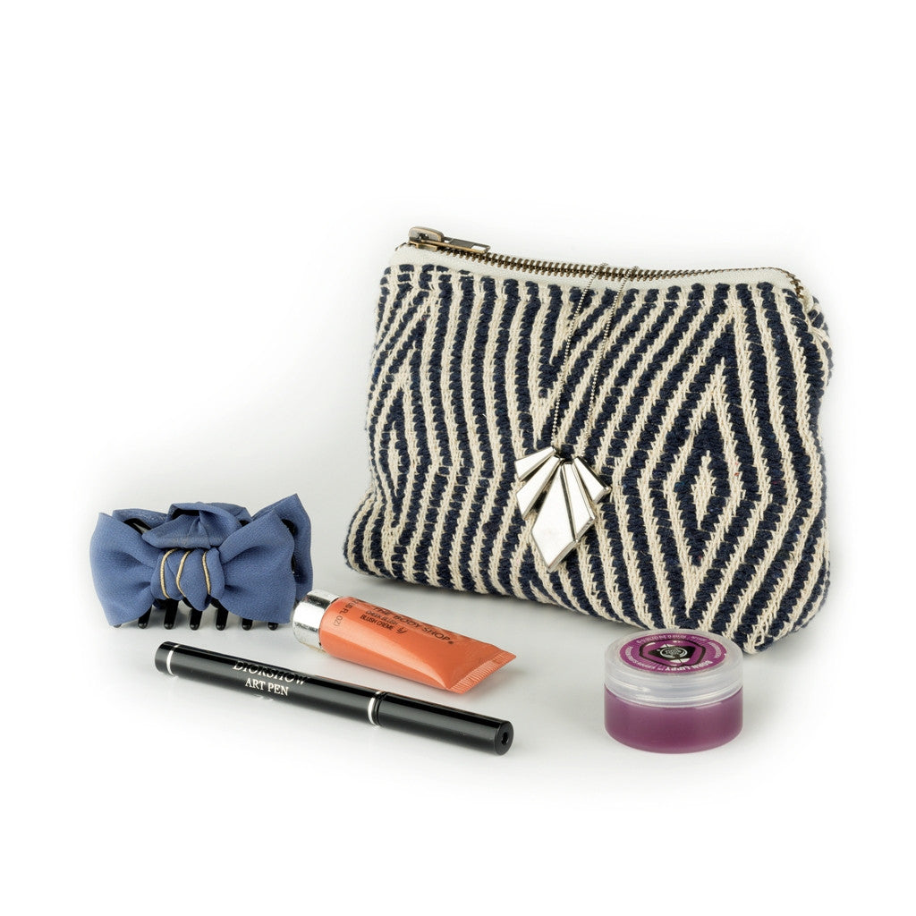 Smart Chic Wallet - Navy Chevron