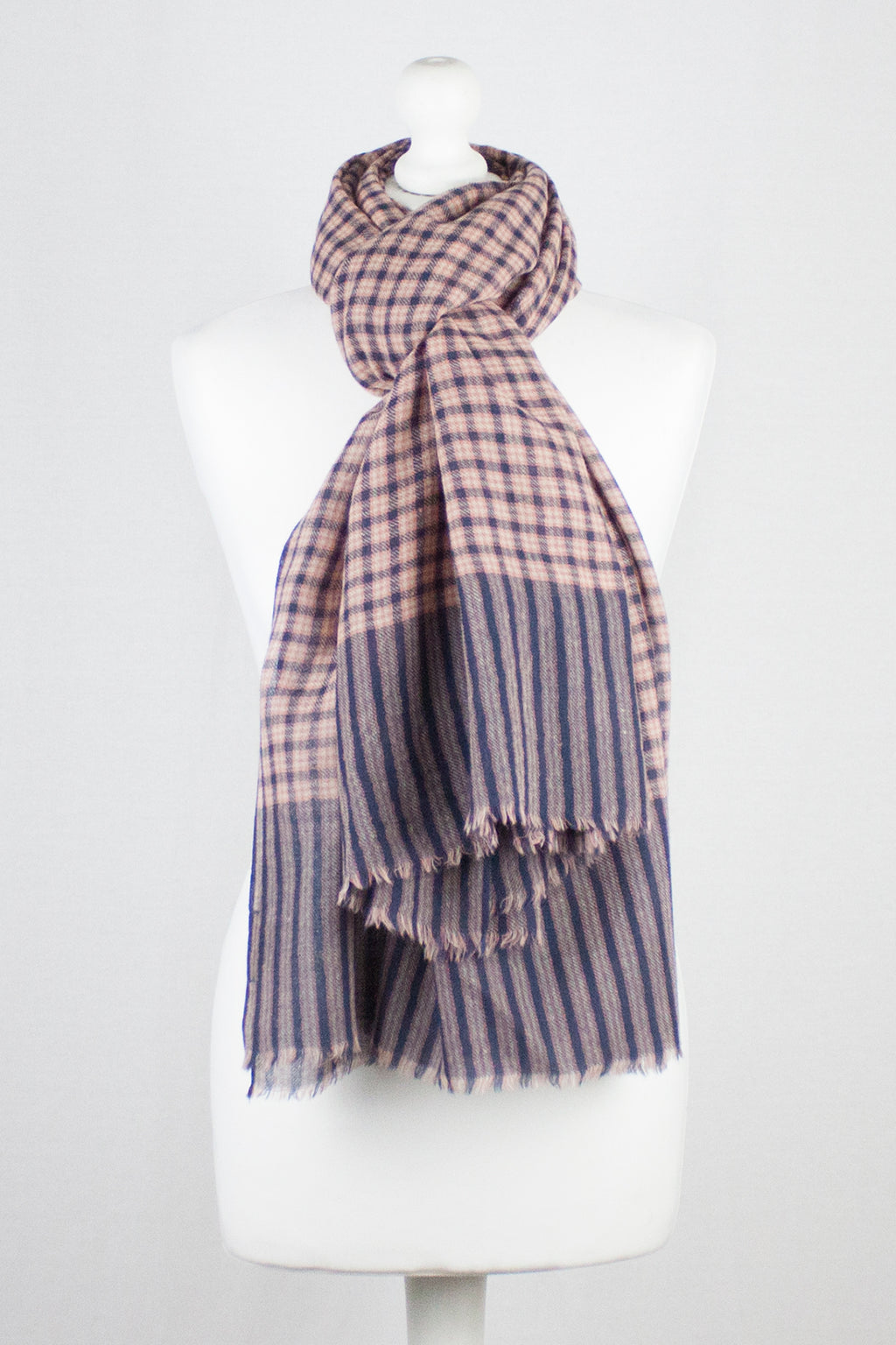 Box Checks w/ Stripe Border Merino Wool Scarf - Black Coral