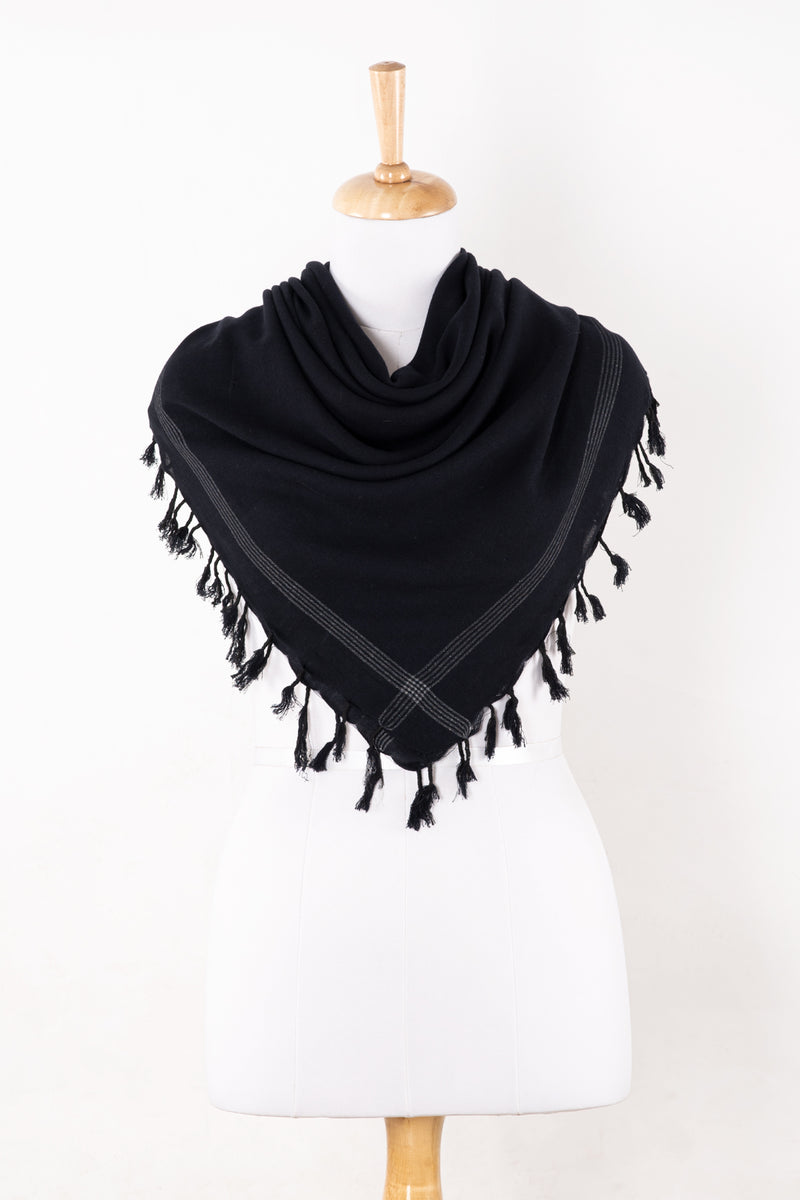SVEZE Shemagh Square Merino Wool Scarf with Tassels - Black - Regular Drape