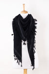 SVEZE Shemagh Square Merino Wool Scarf with Tassels - Black - Alternate Drape