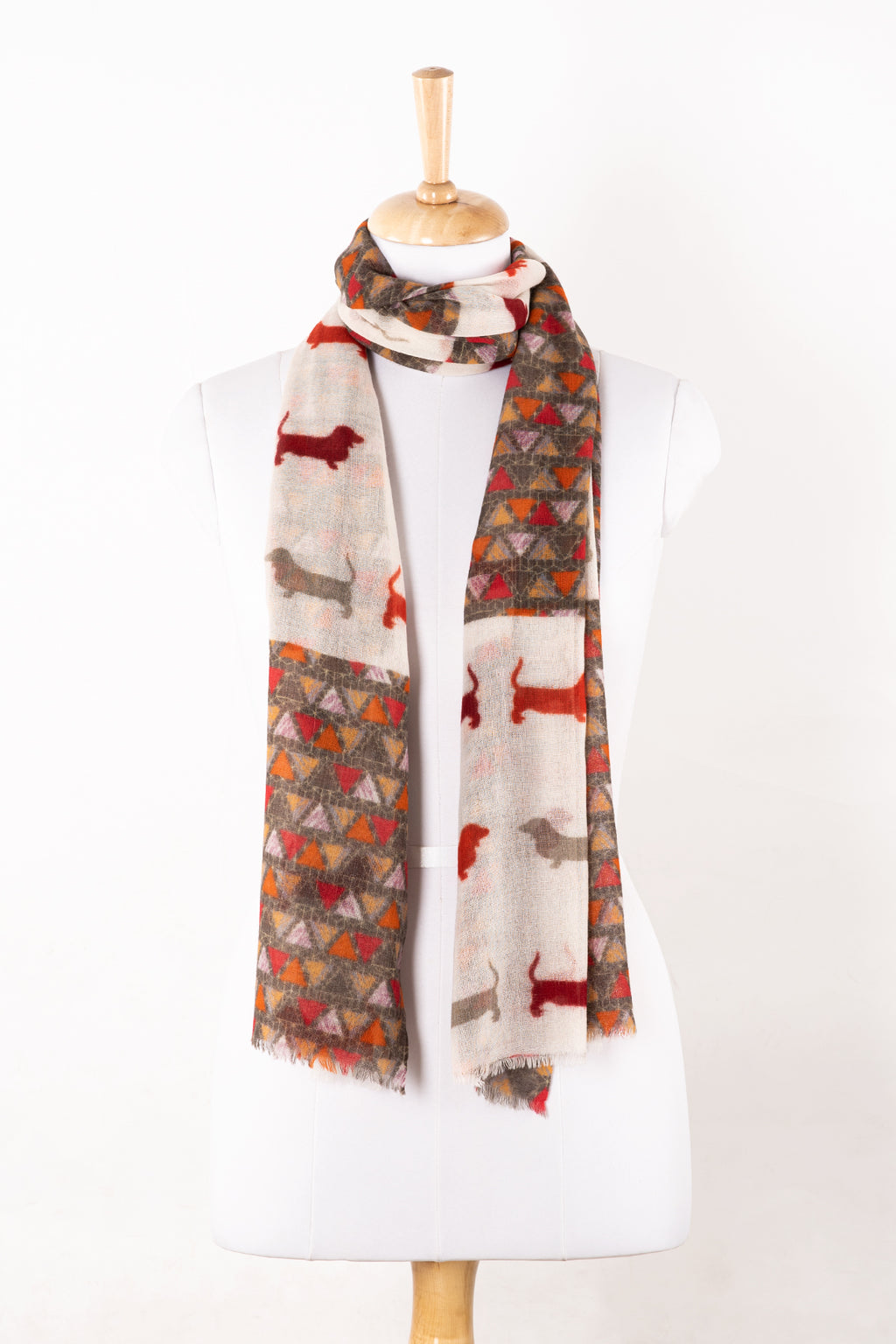 Dog and Triangle Patch Print Merino Wool Scarf - White