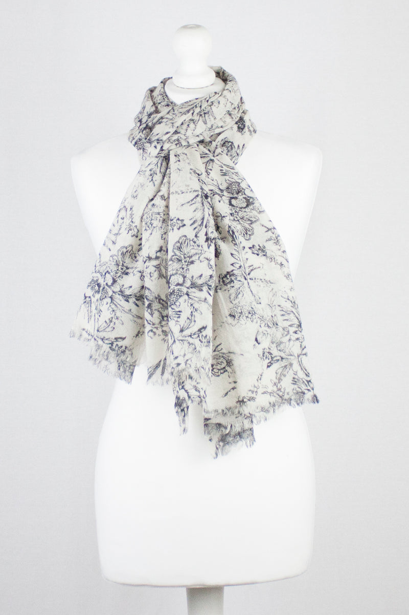 Sketchy Floral Print Merino Wool Scarf - Off White