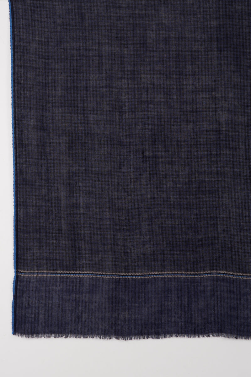 SVEZE Gingham Checks with Striped Border Merino Wool Scarf - Navy Black - Flat Look