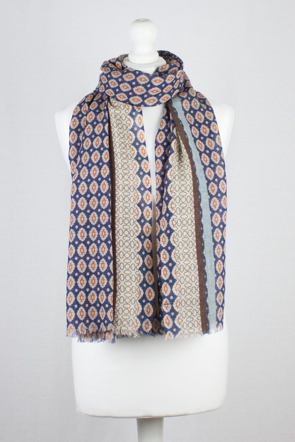 Diamond Tile Print w/ Border Merino Wool Scarf - Navy Orange
