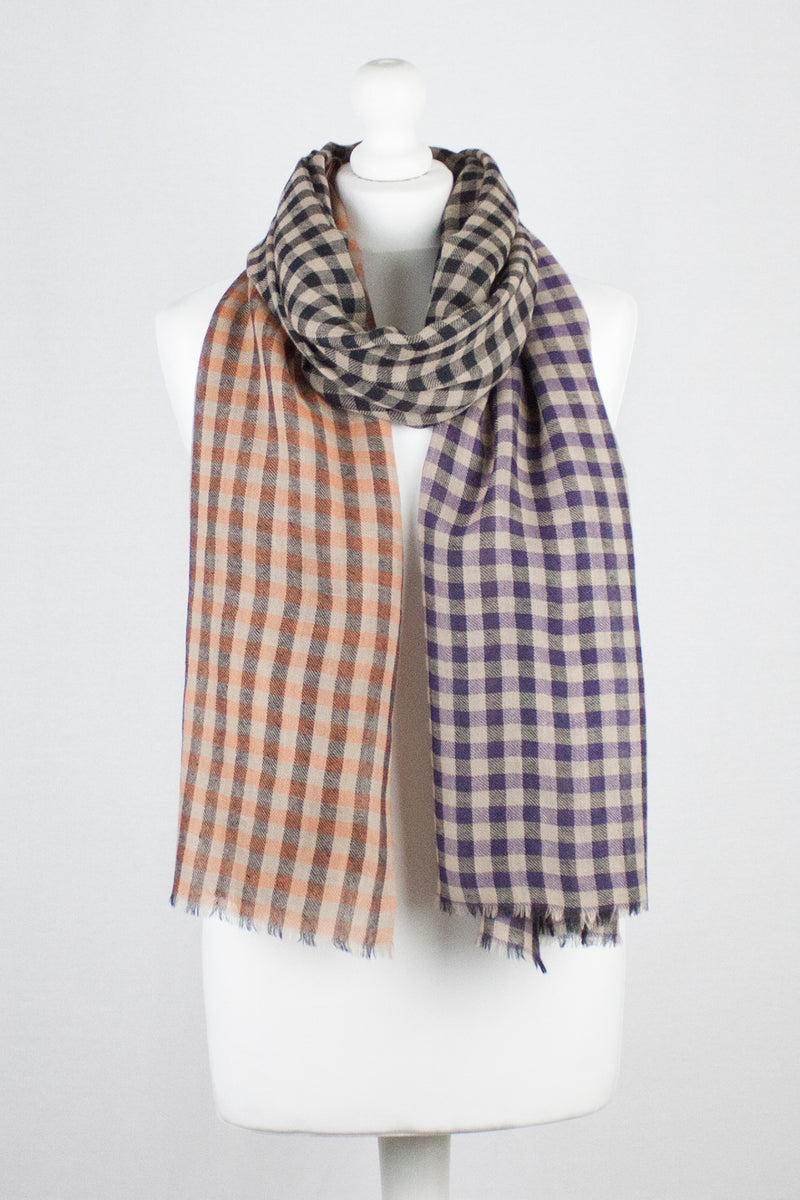 Color Block Checks Merino Wool Scarf - Purple Black Orange