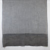 Box Checks w/ Stripe Border Merino Wool Scarf - Black White