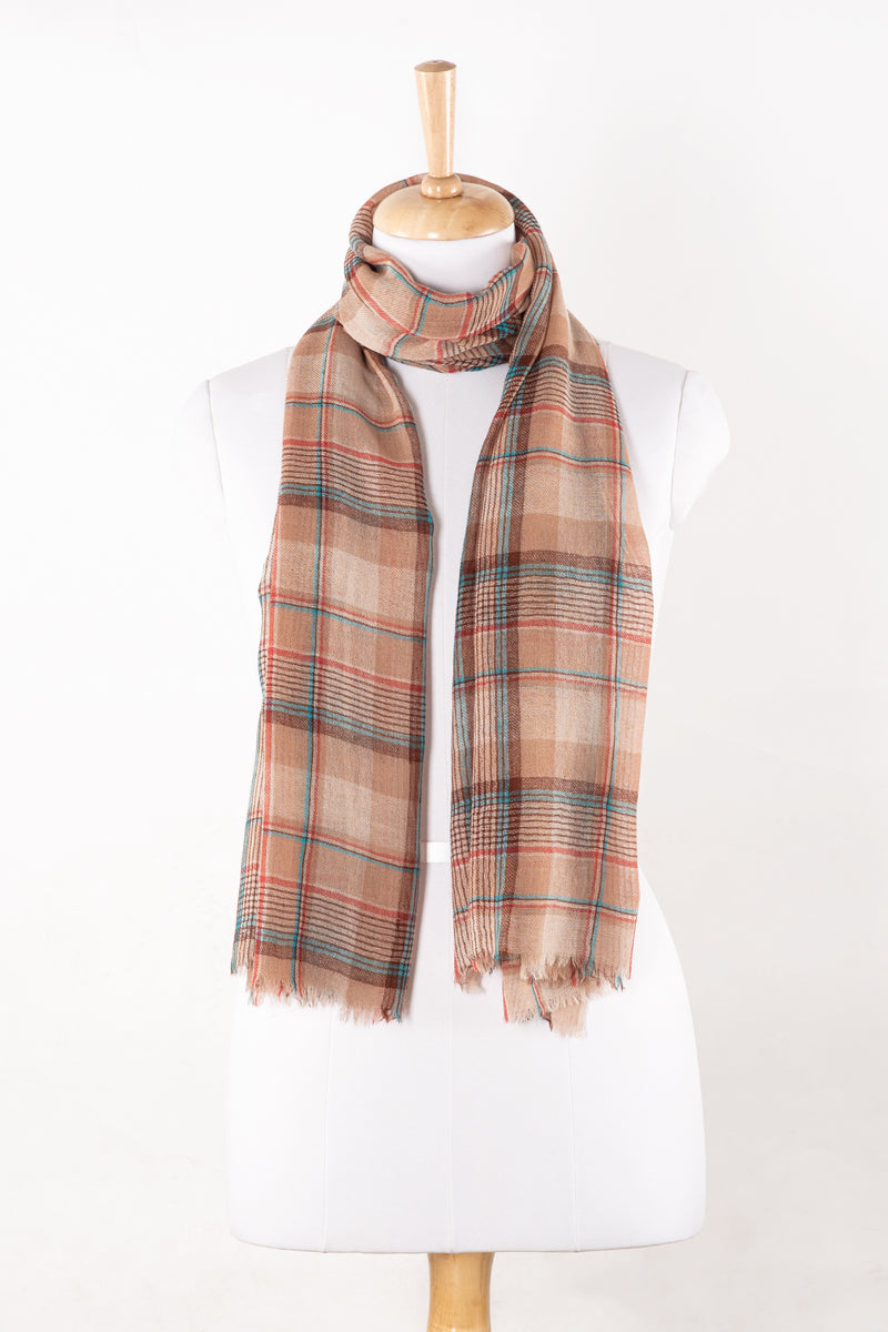 SVEZE Yarn Dyed Twill Weave Checks Merino Wool Scarf - Fawn Multi - Alternate Drape
