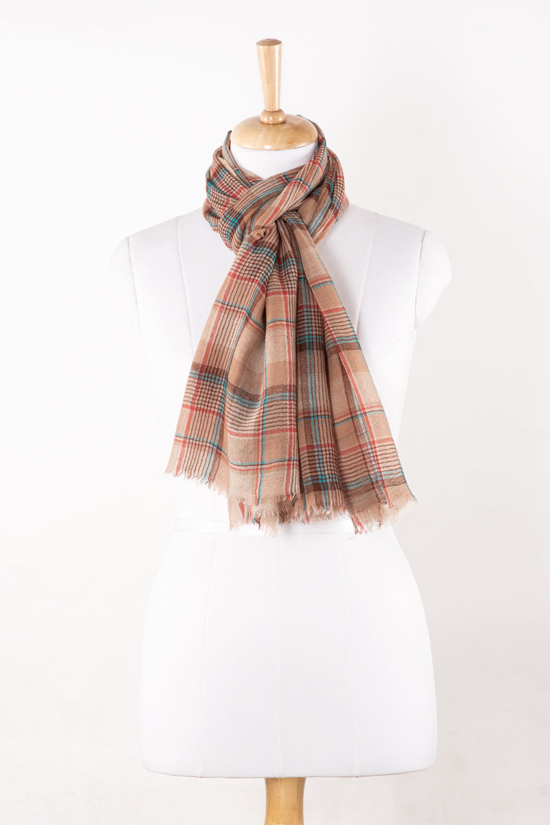 SVEZE Yarn Dyed Twill Weave Checks Merino Wool Scarf - Fawn Multi - Regular Drape