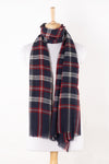 SVEZE Yarn Dyed Twill Weave Classic Checks Merino Wool Scarf - Navy Maroon - Alternate Drape