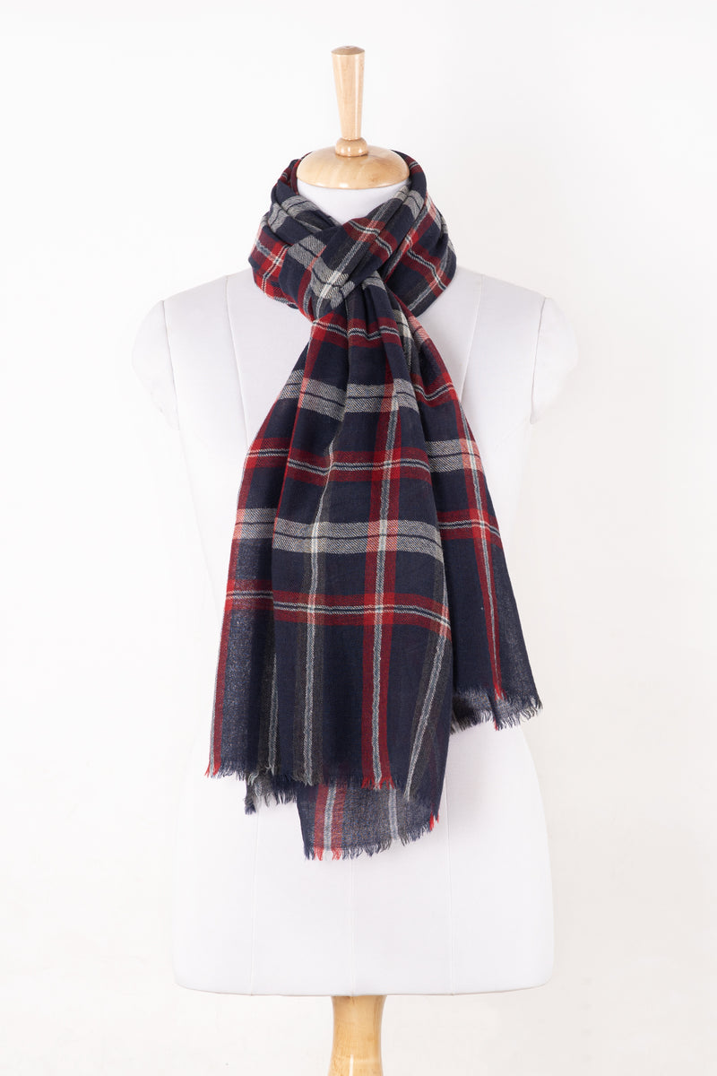 SVEZE Yarn Dyed Twill Weave Classic Checks Merino Wool Scarf - Navy Maroon - Regular Drape