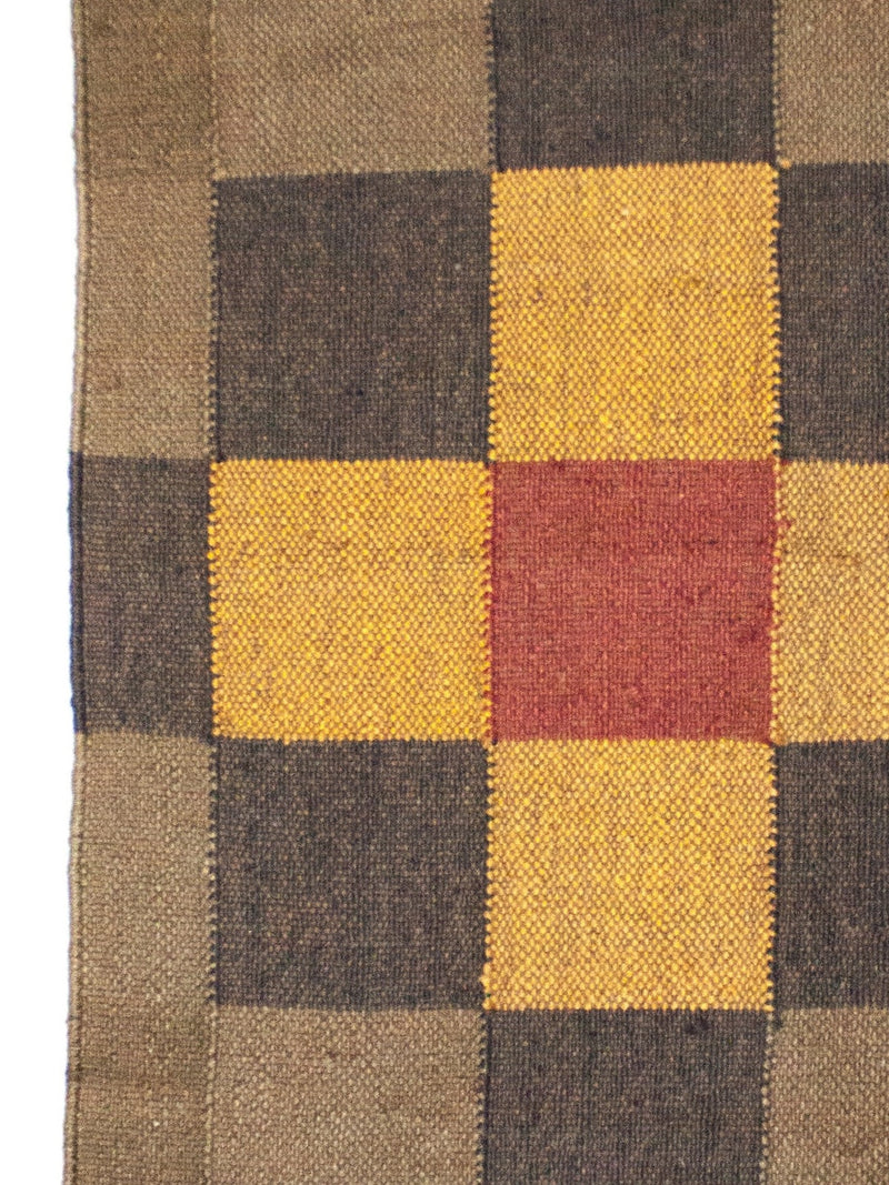 Traditional Multicolour Square Pattern Kilim - Small