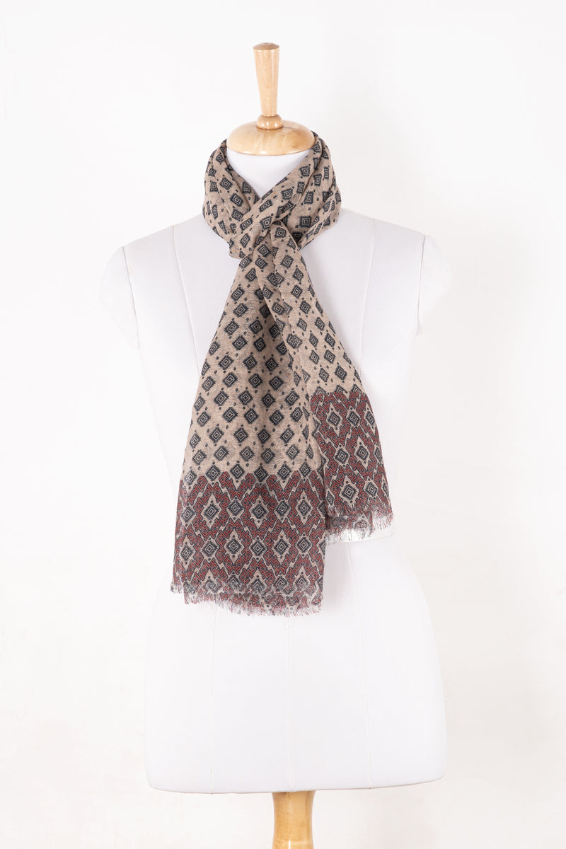 SVEZE Diamond Print Linen Cotton Scarf - Plum Peach - Regular Drape