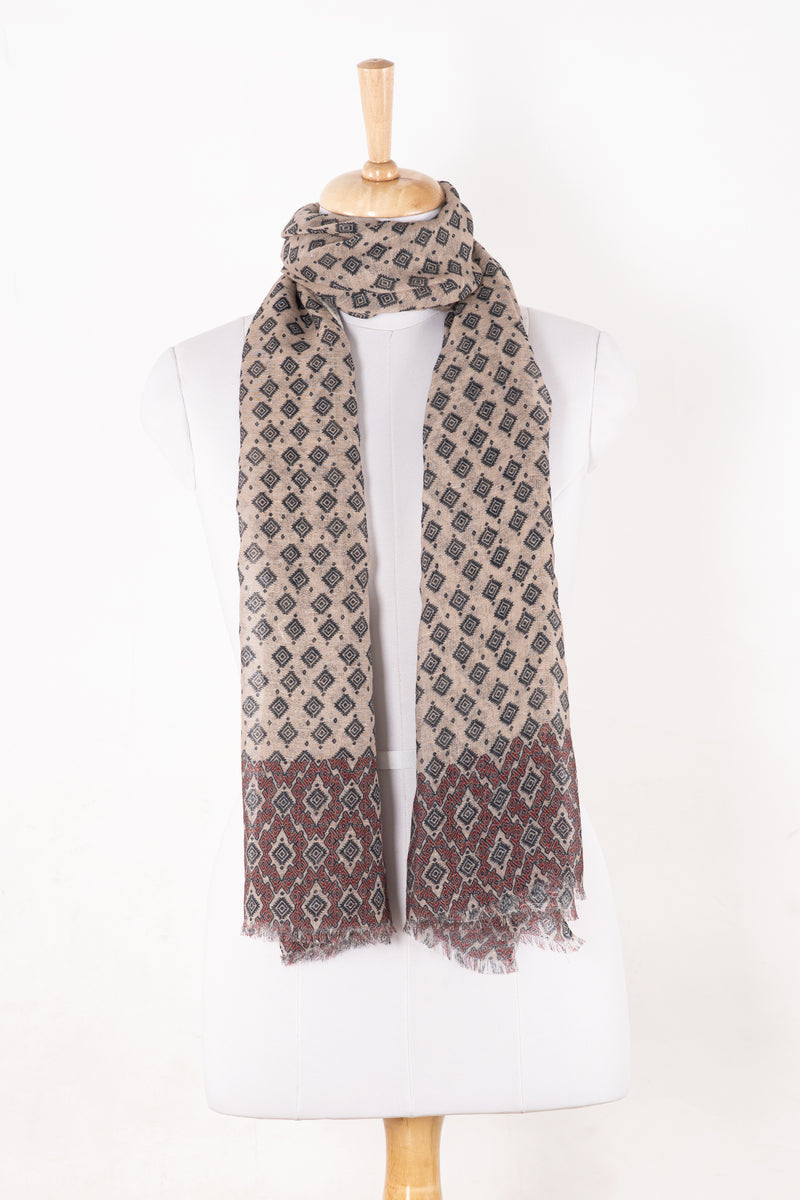 SVEZE Diamond Print Linen Cotton Scarf - Plum Peach - Alternate Drape