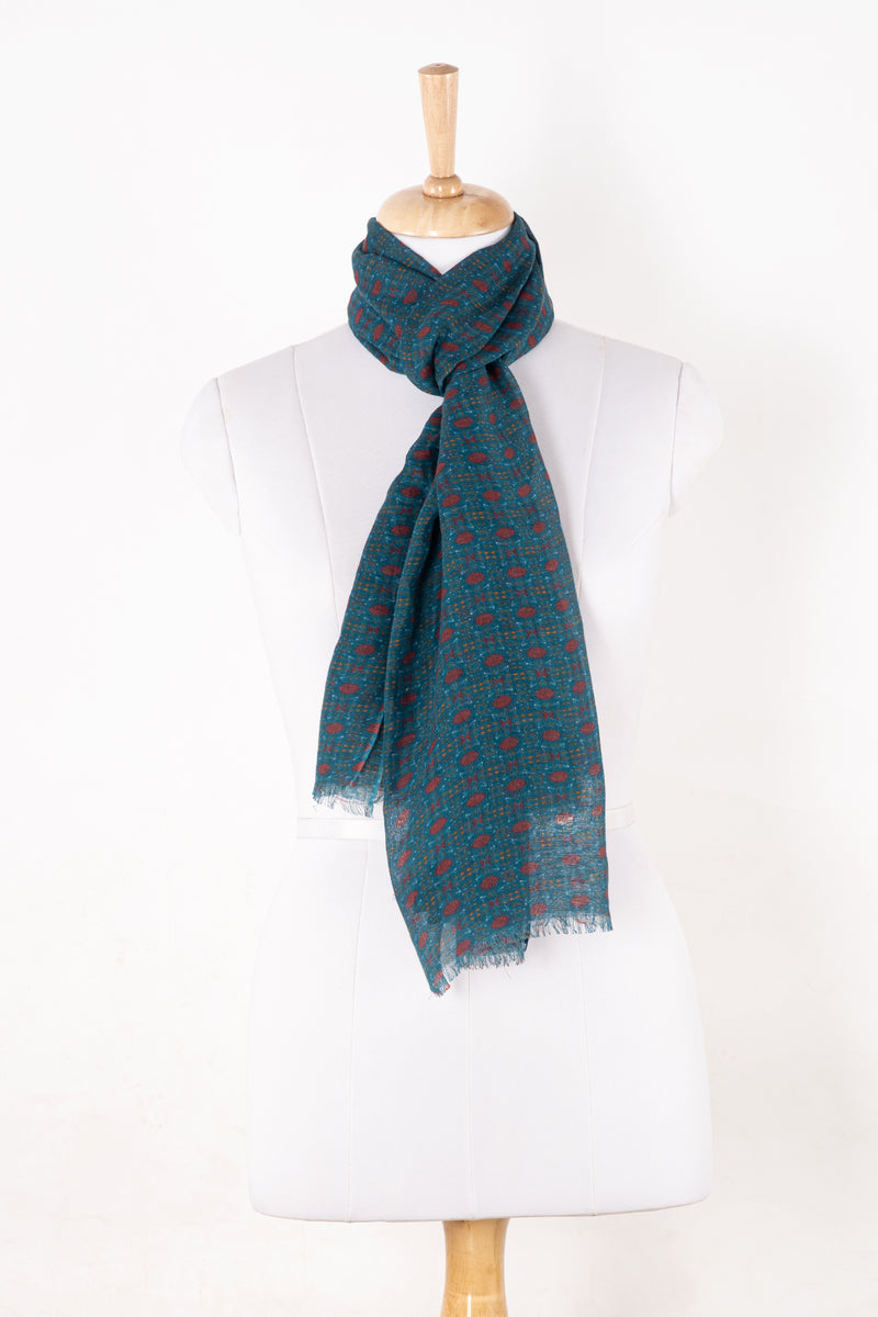 SVEZE Tile Print Linen Cotton Scarf - Navy Red - Regular Drape