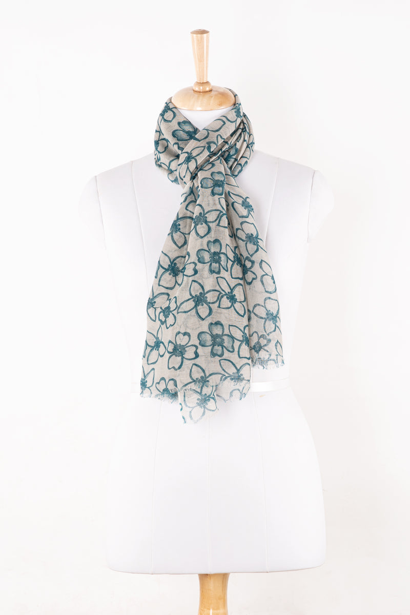 SVEZE Flower Print Linen Cotton Scarf - Blue - Regular Drape